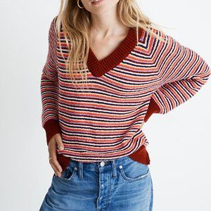 MADEWELL Arden Striped VNeck Cotton Sweater Maroon